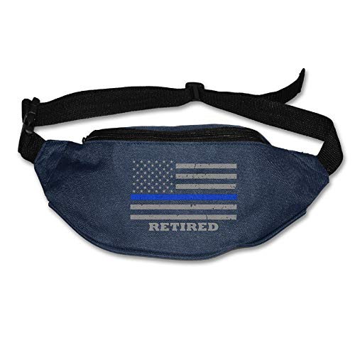 Ada Kitto Thin Blue Line American Flag Mens&Womens Sport Style Travel Waist Bag For Running And Cycling Navy One Size by Ada Kitto