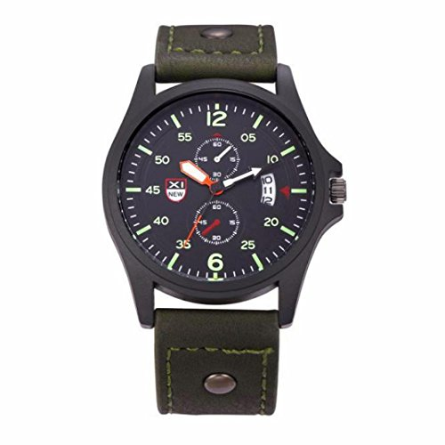 Dial Army Green - Pocciol Wristwatch, Leather Waterproof Date Stainless Steel Quartz Sports Dial Military Army Watch Clock (Green)