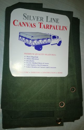 18' Olive (10' x 18' Canvas Tarp 12oz/18oz Olive Drab with Stainless Steel Grommets)