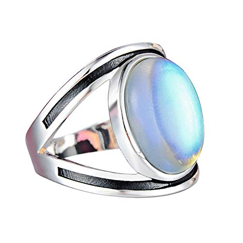 Togethluer Dangler Eardrop, Antique Large Oval Faux Moonstone Finger Ring Women Anniversary Wedding Jewelry US 8