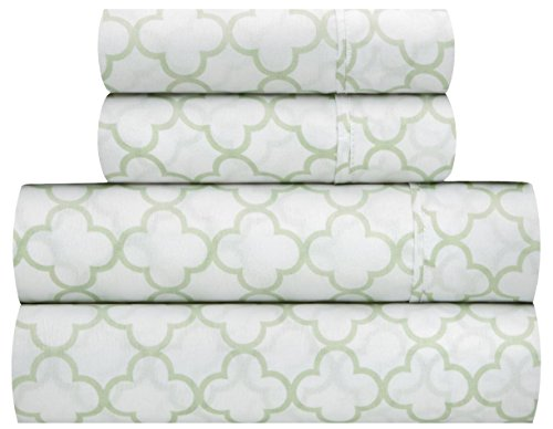 Waverly Traditions Framework Mint Green & White Trellis Print 4-Pc. Bed Sheet Set (Queen)