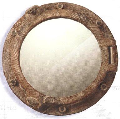 Wooden Nautical Porthole Mirror Beachfront Decor
