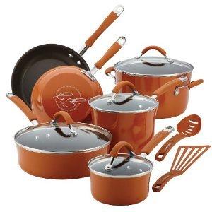 Premium calidad superior Rachael Ray Cucina porcelana esmaltada antiadherente 12 piezas Batería de cocina calabaza naranja: Amazon.es: Hogar