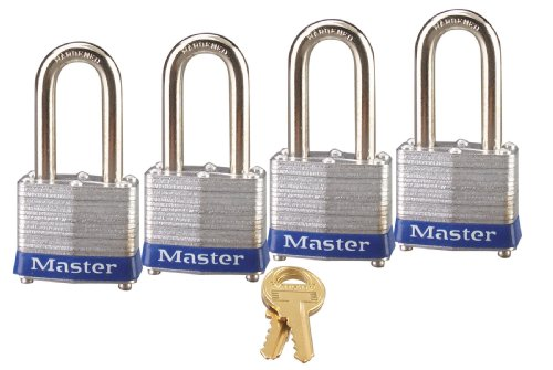 Master Lock Padlock, Laminated Steel Lock, 1-9/16 in. Wide, 3QLF (Pack of 4-Keyed Alike)