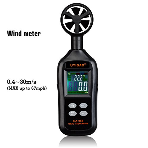 YIGAO Handheld Wind Speed Meter Measuring Air Flow Velocity with Backlight and Max/Min for Windsurfing Kite Flying Sailing Surfing Fishing (1 Wind Speed Meter Anemometer)