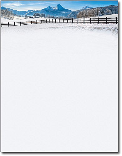 Winter Fence Christmas Holiday Letterhead Paper - 80 Sheets (Holiday Papers Stationery)