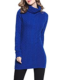 Rocorose Women's Turtleneck Long Sleeves Cable Knitted...