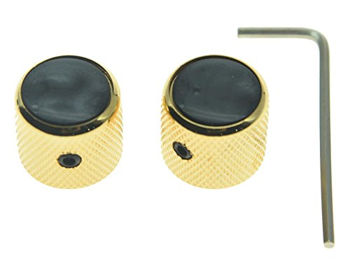 (KAISH Set of 2 Black Pearl Top Guitar Dome Knobs with Set Screw for Tele Guitars Black Pearl Cap Bass Gold Knobs)