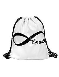 Drawstring Backpack Rucksack School Book Bags Gymbag Forever Love White [010]