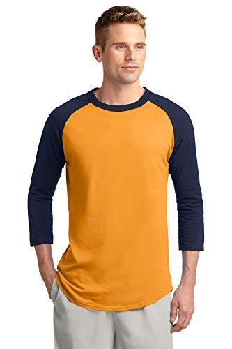 (Sport-Tek Men's Colorblock Raglan Jersey S Gold/Navy)