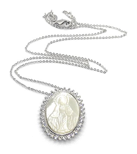 LESLIE BOULES Miraculous Medal Silver Plated Chain 18