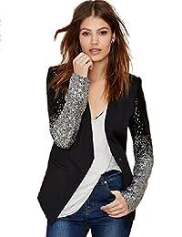 Engerla Women's Sequin Leather Blazer Jacket Coat Business Suit