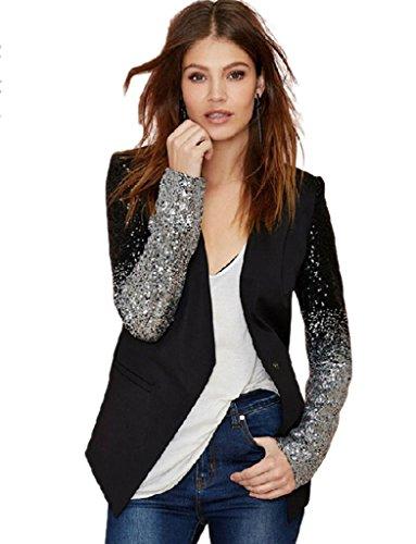 Engerla Women's Sequin Leather Blazer Jacket Coat Business Suit XL by Engerla