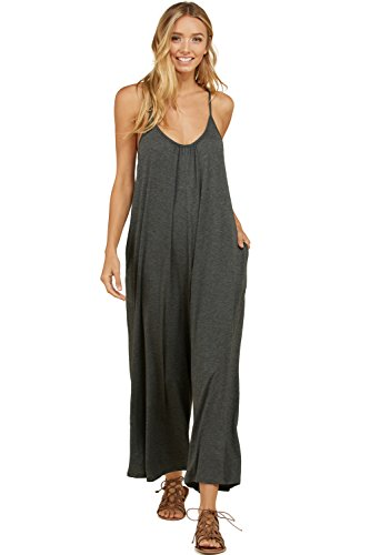 Annabelle Women's Wide Loose Leg Sleeveless Solid Plus Size Jumpsuit Mid Grey X-Large (Nylon Jumpsuit)
