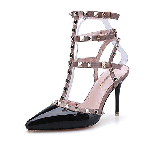 Sandalia 38 mujeres Las niñas rojo Black pescado zapatos boca de Verano Xq1q86