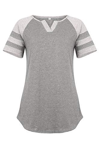 JomeDesign Womens Tops Summer Raglan Shirt Short Sleeve V Neck Henley Shirts Baseball Tee Grey ()