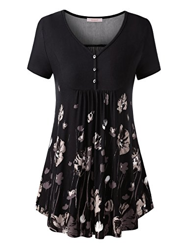 WAJAT Women's Short Sleeve V Neck Front Pleated Flared Comfy Loose Tunic Top Black Floral 2XL