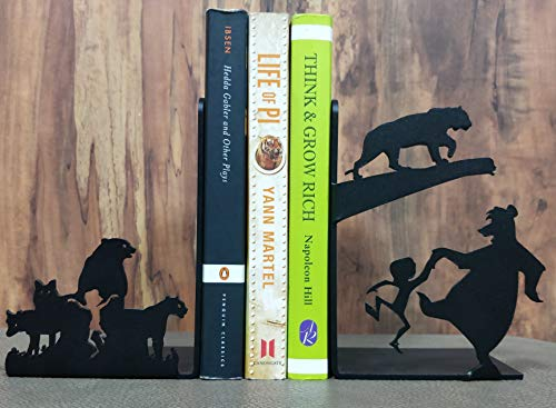- HeavenlyKraft Mowgli Jungle Book Decorative Metal Bookend Non Skid Book End Book Stopper for Home/Office Decor/Shelves 5.9 X 3.9 X 3.14 Inch Per Piece