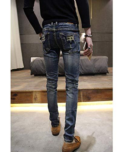 Destrutturato Ragazzi Classiche Blau Scollo A Con Denim Slim Basic Jeans Uomo Da Matita Nn In Pantaloni Hole HxwqA7SZA