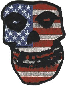 n Ghost Skull with USA/American Flag - Embroidered Iron On or Sew On Patch ()