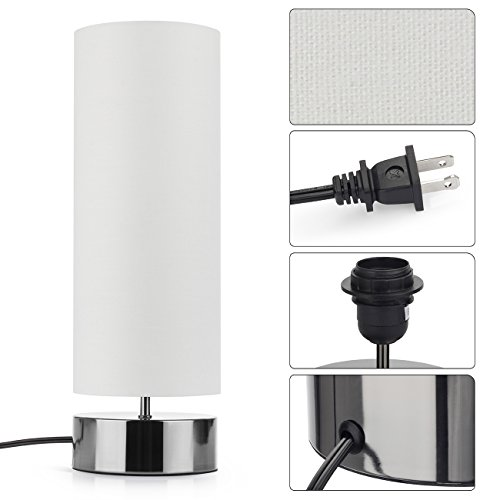 Touch Control Table Lamp Bedside Minimalist Desk Lamp Modern Accent Lamp Dimmable Touch Light with Cylinder Lamp Shade Night Light Nightstand Lamp for Bedroom Living Room Kitchen, E26 Bulb Included by Seaside village (Image #6)