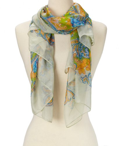 Women's Soft Fashion Lightweight Abstract Sheer Floral Square Silky Scarf (Light Green Floral)