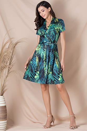 Fresca Women\'s Casual V Neck Belted Short Sleeve Swing A Line Faux Wrap Dress Green Leaf Small