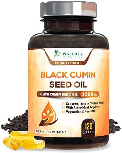Black Seed Oil Capsules, Max Potency Cold-Pressed 1000mg - Premium Nigella Sativa Black Cumin, Amazing Antioxidant Highest Thymoquinone, Non-GMO Supplement Pills by Natures Nutrition - 120 Capsules
