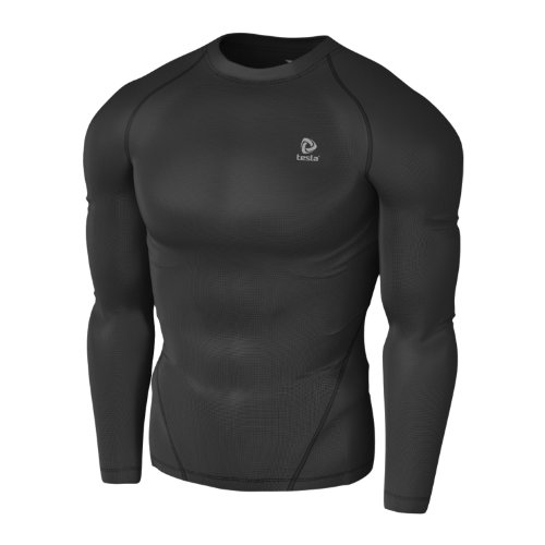 Tesla Mens Compression Performance Sport Top Long Sleeve