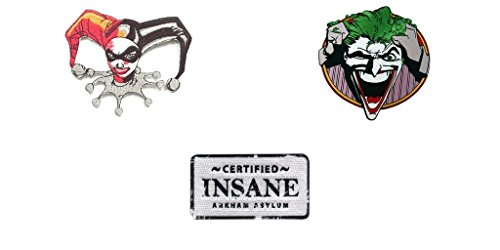 DC Comics Justice League The Joker, Harley Quinn 3 Pack Patch Gift set