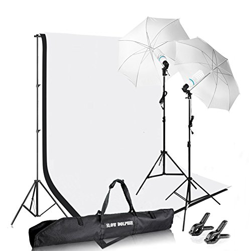 Photography Photo Video Studio Background Stand Support Kit with Muslin Backdrop Kits (White Black),1050W 5500K Daylight Umbrella Lighting Kit(10x6.5ft/3x2M) by SLOW DOLPHIN
