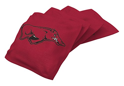 Wild Sports NCAA College Arkansas Razorbacks Red Authentic Cornhole Bean Bag Set (4 Pack) ()