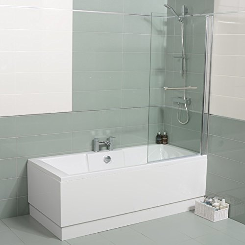 Bath Shower Tub 1600 x 700 Corner Single Ended White Acrylic Square Modern Luxury Left Hand Bathroom Deluxe Straight Design with Large Screen 6mm Glass by Better Bathrooms Â