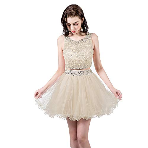 TANGFUTI Two Piece Homecoming Dresses Short Beaded Tulle Formal Prom Gowns 010 Champagne US16