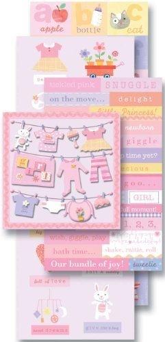 Girl Embellishments (K & Company Sticker Embellishment Flip Pack - Baby Girl)