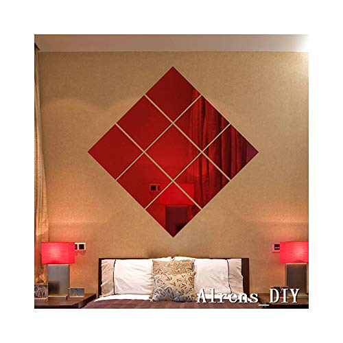 Alrens_DIY(TM)16 x 16CM 9 pcs Squares DIY Mirror Effect Reflective 3D Wall Stickers Home Decoration Living Room Bedroom Bathroom Decor Mural Decal adesivo de parede Removable Design Art (Red)