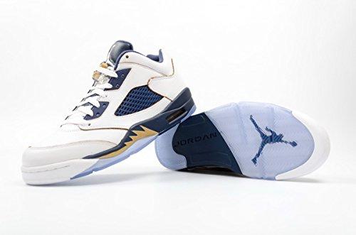 Air Jordan 5 Retro Laag Heren Sneakers 819171-135 Dunk Van Boven-wit / Metallic Gouden Ster-mid Marine