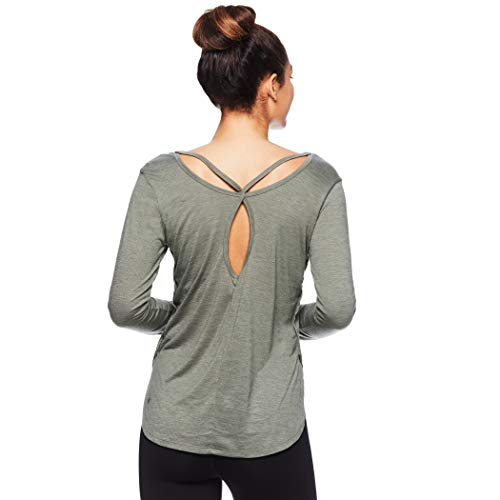 Gaiam Womens Strappy Open Back Yoga Shirt - Long Sleeve Activewear Top w/Side Slits