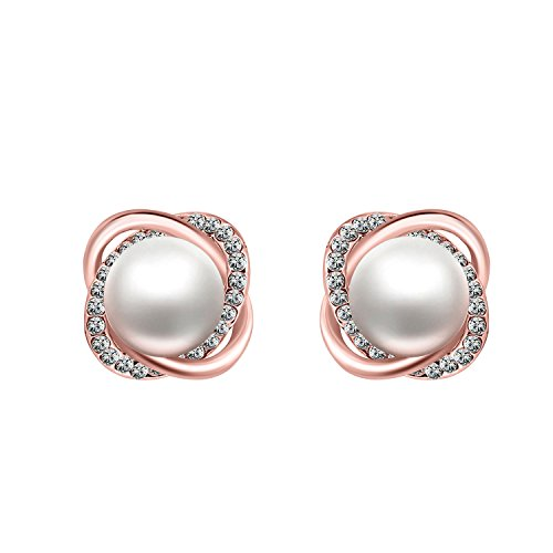 Womens Twist Simulated Pearl CZ Stud Earrings 18K Gold Plated