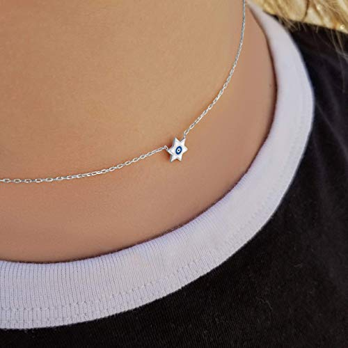 Bat Mitzvah Jewish Star & Evil Eye Necklace in Sterling Silver for Women & Girls | Alef Bet Jewelry