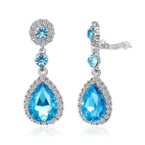 (Gorgeous Austrian Crystal Rhinestone Ear Clip on Earring Wedding Bridal Teardrop Drop Dangle Earrings (Clip on Blue))