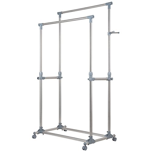 Ollieroo Stainless Steel Adjustable Telescopic Rolling Clothing Rack Garment Rack (Double Rail)