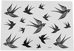 1 Hoja de Golondrina de Diseño de Pájaro de PVC Tatuaje Temporal ...