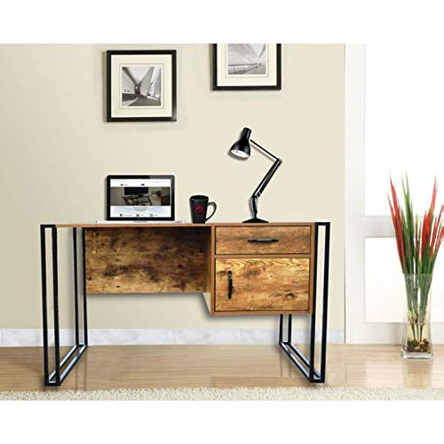 (Modern Writing Desk - Country Style Computer Table with 2 Storage Drawers - Home Office)