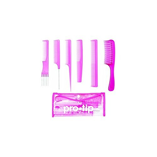 Pro Tip 6 piece College Hair Comb Kit in a Wallet - PINK