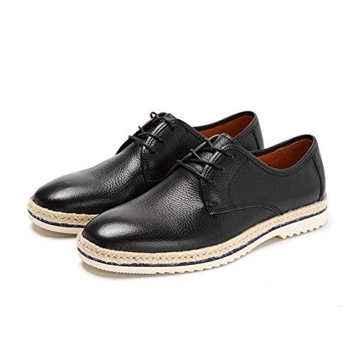 Primavera casual dedo del pie redondo/Encaje de zapatos casual Negro