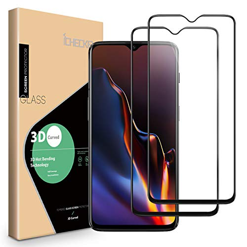 OnePlus 6T Screen Protector - [2 Pack] ICHECKEY [Full Adhesive] [2.5D Full Coverage ] Tempered Glass Screen Cover Shield for OnePlus6T - Black