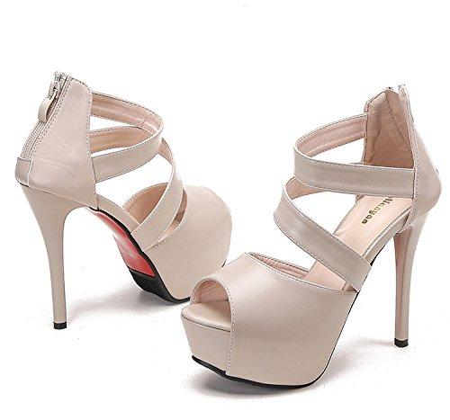 huge selection of 2f27a a0547 Jqdyl High Heels Schuhe mit hohen Absauml tzen Schuhe Wasserdichte  Plattform Strap Hinterer Reiszlig