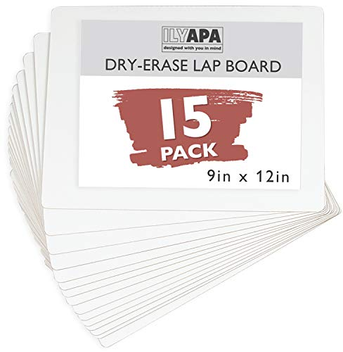 Dry Erase Lapboards Whiteboards - Pack of 15-9x12 White Board Lap Boards for Classroom, Teachers, Students, Children