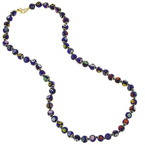 (GlassOfVenice Murano Glass Mosaic Long Necklace - Navy Blue)